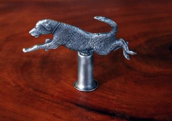 Leaping Lab Pewter Lamp Finial by Sid Bell Originals