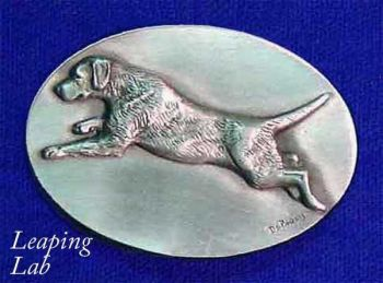 Leaping Lab sculptured pewter buckle by the Art of Lou DePaolis