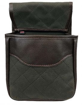 Leather & Duck Cloth Quilted Shotgun Shell Pouch - Double