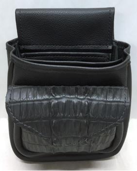 Leather & Crocodile Hornback Pocket Shotgun Shell Bag - Front
