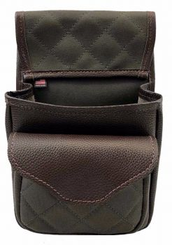 Leather & Duck Cloth Quilted Shotgun Shell Pouch - Leather Flap -Deluxe