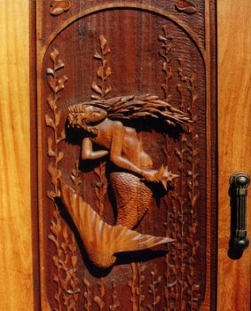 """Mermaid"" ( Hand-Carved Carved Door0 Larry Lefner"