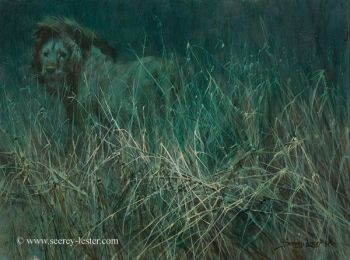 Savannah Nocturn Original Painting of an African Lion by John Seerey-Lester