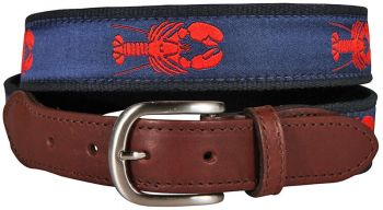 Lobster over Navy Background Leather Tab Belt by Belted Cow
