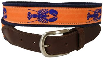 Lobster over Melon Background Leather Tab Belt by Belted Cow