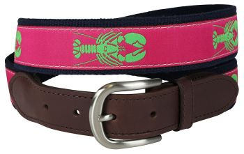 Lobster over Raspberry Background Leather Tab Belt by Belted Cow