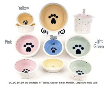 Lonepawware design Petware pottery dog and cat bowls