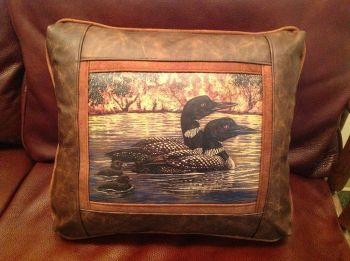 Loons Leather Pillow