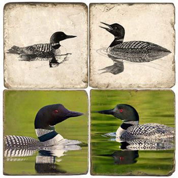 Loons Italian Marble Coaster and Accessories