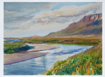Lower Hofsa is the title of a watercolor painting of the river in Iceland by CD Clarke