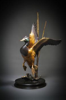 Mallard Rise bronze sculpture by Ronnie Wells