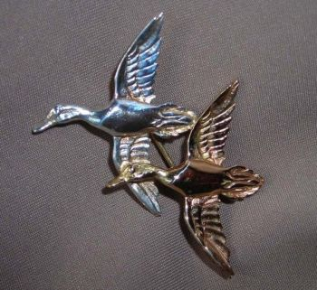 Mallard Double Sterling Silver Pin by Dick Cook