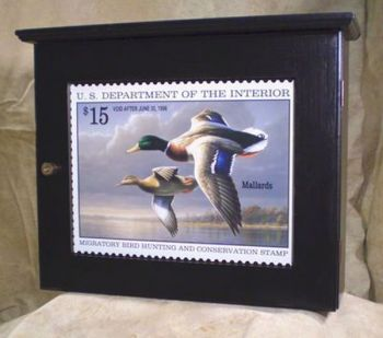 Ebony Wall Cabinet featuring Mallards in Federal Duck Stamp art
