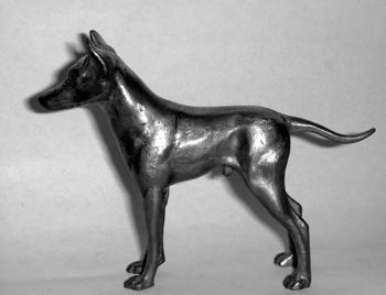 Manchester Terrier Hood Ornament or Car Mascot by Louis Lejeune comes in chrome, bronze, enamel or gold plated