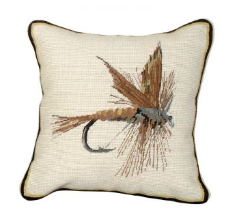March Brown Fly Mixed Stitch Pillow by Michaelian Home