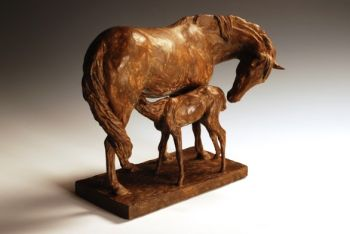 Mare and Foal Bronze Sculpture by Liz Lewis
