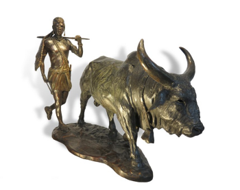 New Blood - Masai and Bull bronze sculpture by John Tolmay