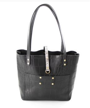 Matt Black Croc Tote by Bull and Briar