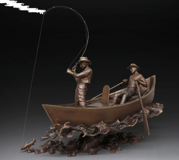 McKenzie's Drift is a bronze sculpture of a fishing scene by Dan Genord
