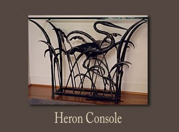 Heron Console forged from iron by John Boyd Smith