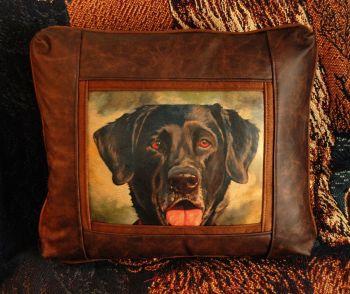 Midge - Labrador Retriever Leather Pillow