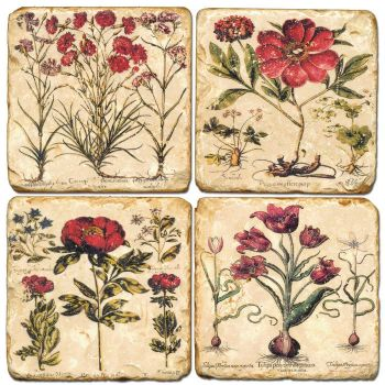 Mixed Red Floral Coasters set of 4 Italian Marble Coasters