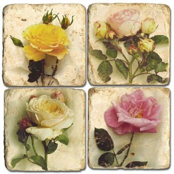Mixed Roses Coasters set of 4 Italian Marble Coasters