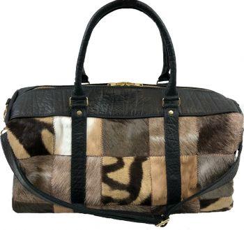 Zebra and Cape Buffalo Hide Duffel Bag - black - front