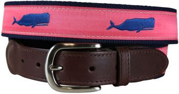 Moby Whale Coral Color Leather Tab Belt by Belted Cow