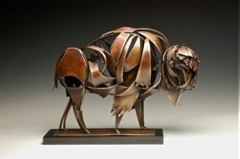 Moe is the name of an American Bison bronze sculpture by Don Rambadt