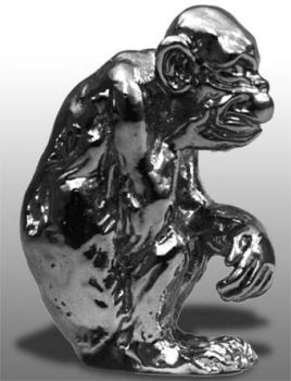 Monkey Sitting Pensive Hood Ornament or Car Mascot by Louis Lejeune comes in chrome, bronze, enamel or gold plated
