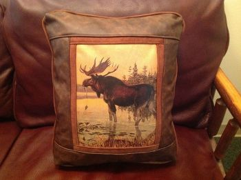Moose in the Northwoods Leather Pillow