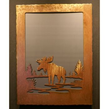 Moose scene rustic metal mirror by Steel Appeal