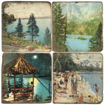 Mountain Lake Italian Marble Coasters and Giftware