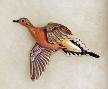 Mourning Dove Hand-Carved Wood Pin by Dick Cook