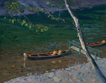 Nap Time is the title of an original oil painting of fishing canoes by CD Clarke