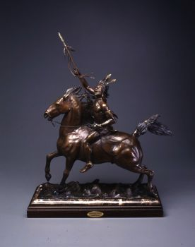 The Wind and The Warrior is a bronze sculpture of a Native American Indian on a horse by Ronnie Wells