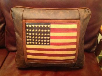 Navajo American Flag Leather Pillow