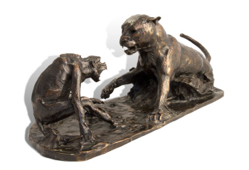 Nemesis - Leopard and Baboon bronze sculpture by John Tolmay