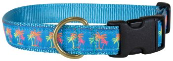 Belted Cow Neon Palms design one inch dog Collar