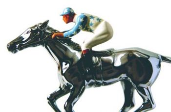 Newmarket Large Racehorse with Jockey Hood Ornament