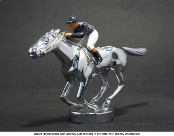 Newmarket Thoroughbred Racehorse with Jockey Hood Ornament or Car Mascot by Louis Lejeune comes in chrome, bronze, enamel or gold plated