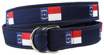North Carolina State Flag D-Ring Belt by Belted Cow