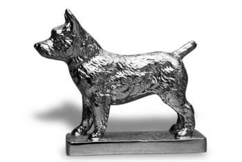 Norwich Terrier Hood Ornament or Car Mascot by Louis Lejeune comes in chrome, bronze, enamel or gold plated