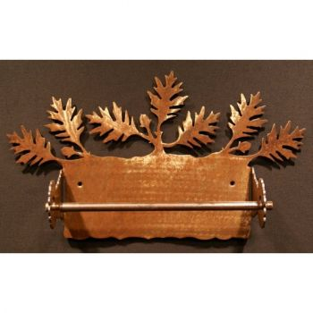 Oak Leaf rustic metal paper towel holder by Steel Appeal