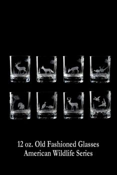 12 oz. Old Fashioned Glasses from Queen Lace Crystal - Hand-engraved Crystal, American Wildlife Series