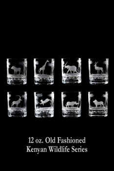 12 oz. Old Fashioned Glasses from Queen Lace Crystal - Hand-engraved Crystal, Kenyan Wildlife Series