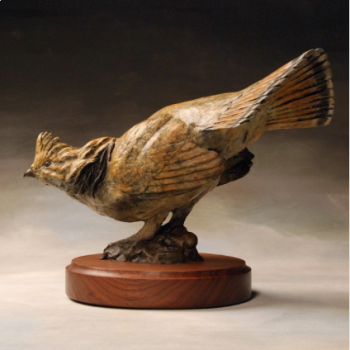 Ole Ruff - a Ruffed Grouse bronze sculpture by Liz Lewis