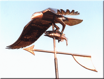 Osprey with Catch Copper Weathervane by Barry Norling