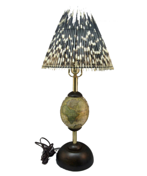 Ostrich Egg Lamp and Porcupine Quill Shade